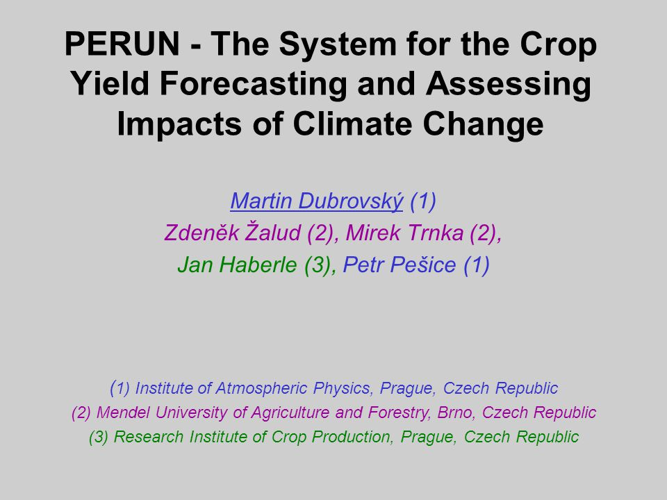 PERUN - output - summary statistics of the series of annual characteristics