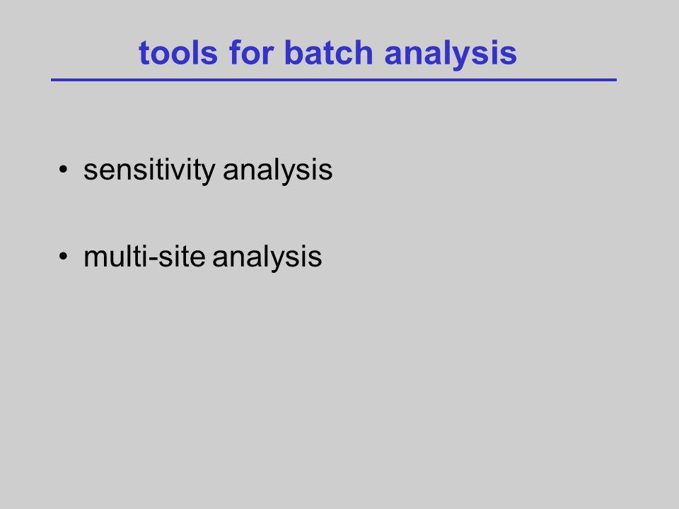 tools for batch analysis sensitivity analysis multi-site analysis