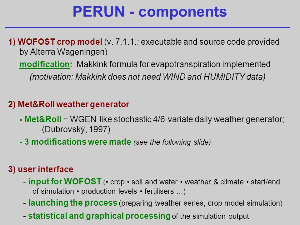 PERUN - components 1) WOFOST crop model (v.