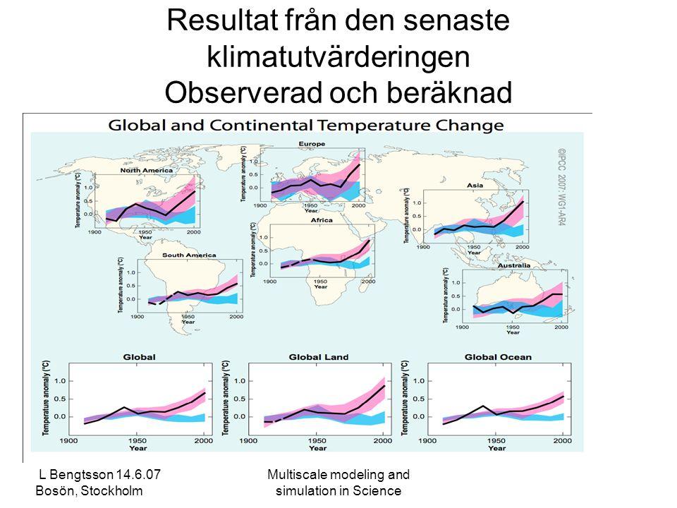 L Bengtsson 14.6.07 Bosön, Stockholm Multiscale modeling and simulation in Science Resultat från den senaste klimatutvärderingen Observerad och beräknad temperaturändring