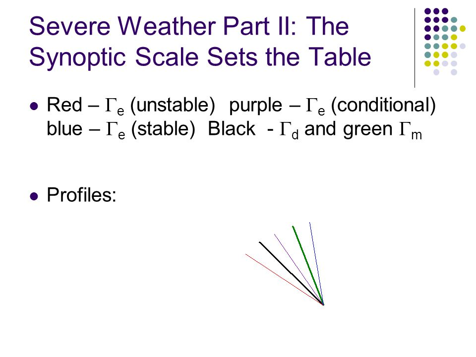 Severe Weather Part II: The Synoptic Scale Sets the Table Red – e (unstable) purple – e (conditional) blue – e (stable) Black - d and green m Profiles