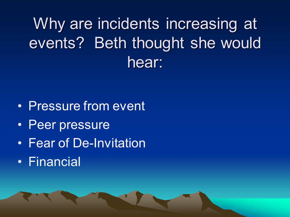 Why are incidents increasing at events.