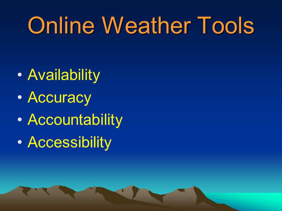 Online Weather Tools Availability Accuracy Accountability Accessibility