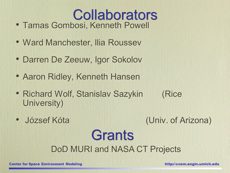 Center for Space Environment Modeling http://csem.engin.umich.edu Tamas Gombosi, Kenneth Powell Ward Manchester, Ilia Roussev Darren De Zeeuw, Igor So