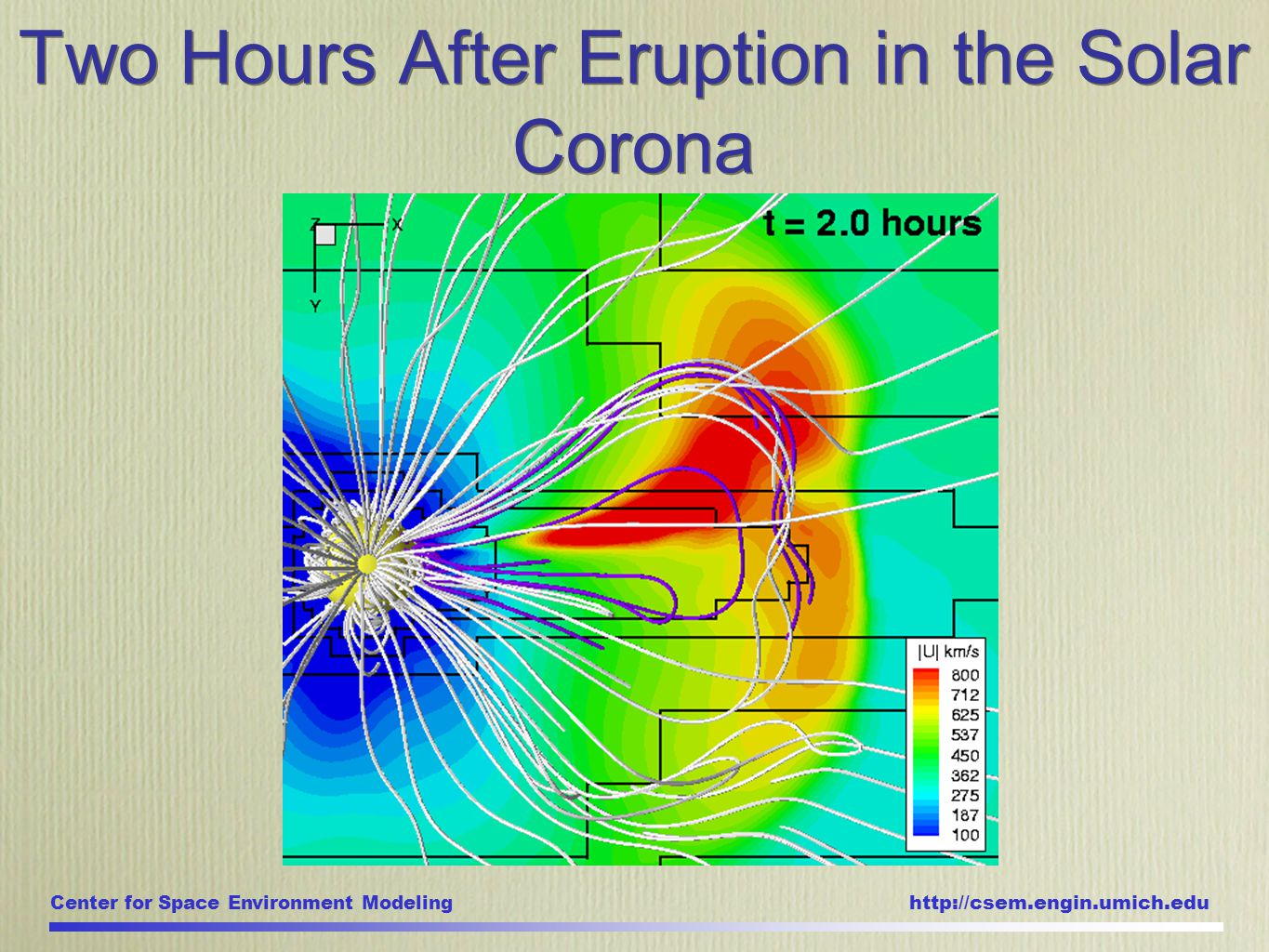 Center for Space Environment Modeling http://csem.engin.umich.edu Two Hours After Eruption in the Solar Corona