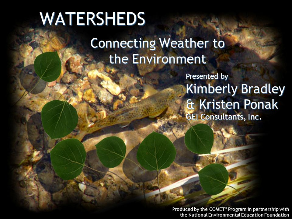 WATERSHEDS Produced by the COMET ® Program in partnership with the National Environmental Education Foundation Connecting Weather to the Environment Presented by Kimberly Bradley & Kristen Ponak GEI Consultants, Inc.