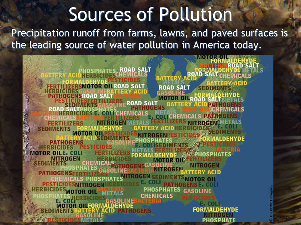 Sources of Pollution Precipitation runoff from farms, lawns, and paved surfaces is the leading source of water pollution in America today.