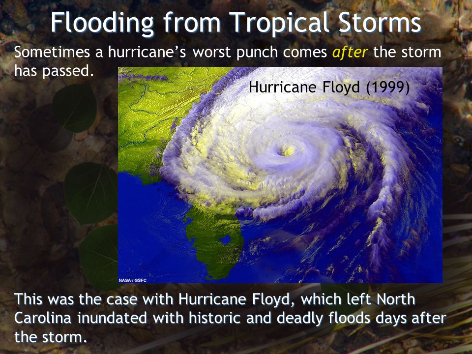 Flooding from Tropical Storms Hurricane Floyd (1999) Sometimes a hurricanes worst punch comes after the storm has passed.