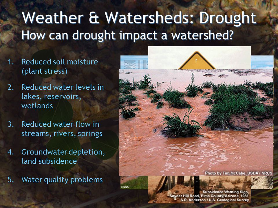 Weather & Watersheds: Drought 1. Reduced soil moisture (plant stress) 2.