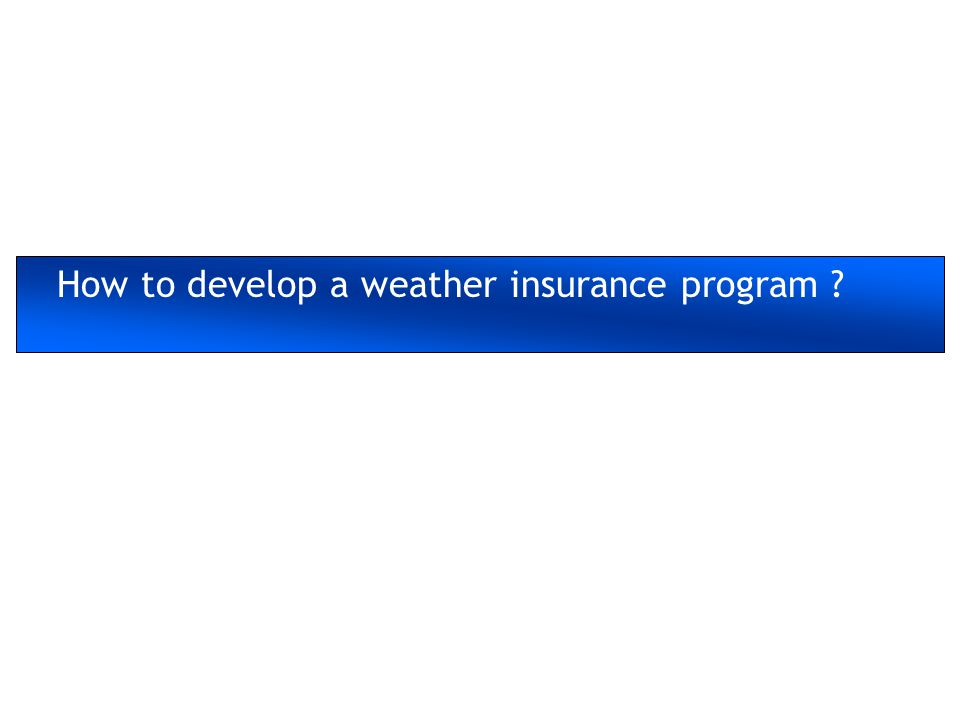 How to develop a weather insurance program