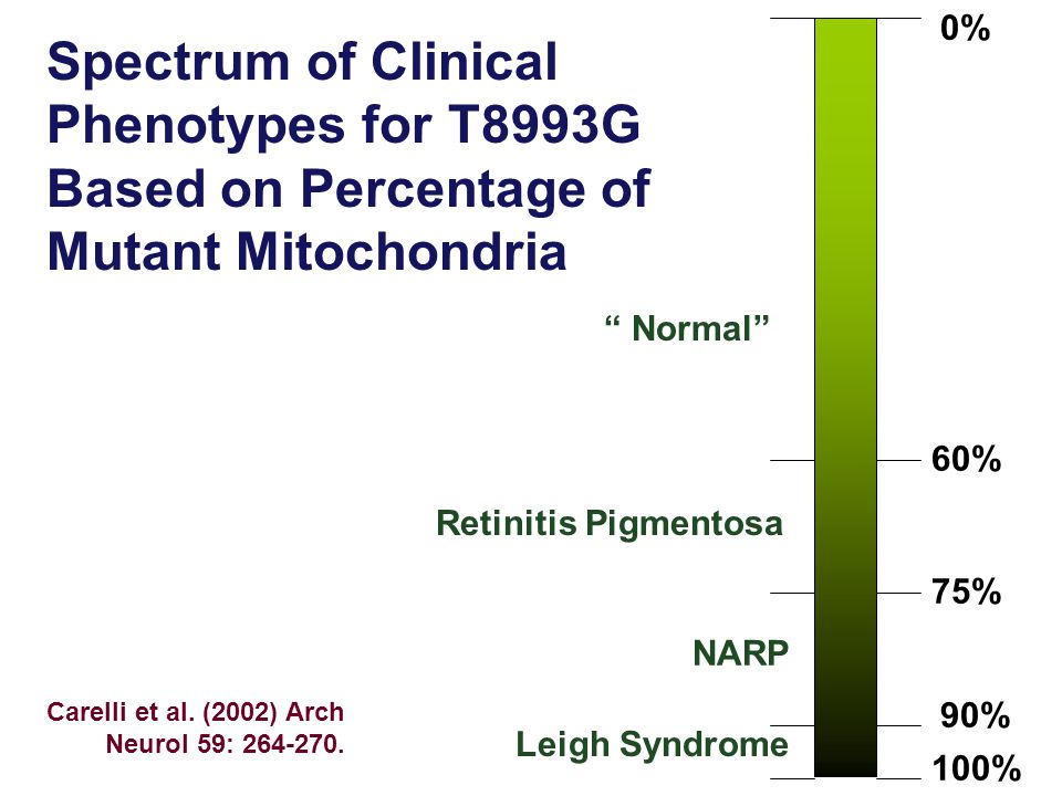 Spectrum of Clinical Phenotypes for T8993G Based on Percentage of Mutant Mitochondria 0% 100% 75% 60% 90% Retinitis Pigmentosa NARP Leigh Syndrome Nor