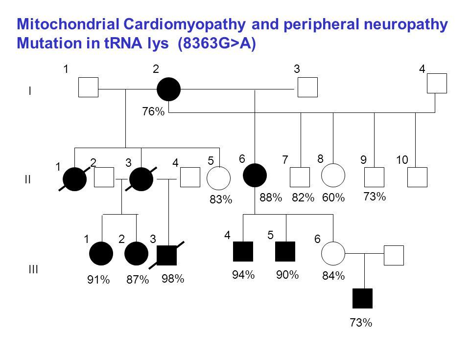 1234 1 234 5 6 7 8 910 123 45 6 76% 88%82% 83% 73% 60% 84% 90%94% 98% 87%91% 73% I II III Mitochondrial Cardiomyopathy and peripheral neuropathy Mutat