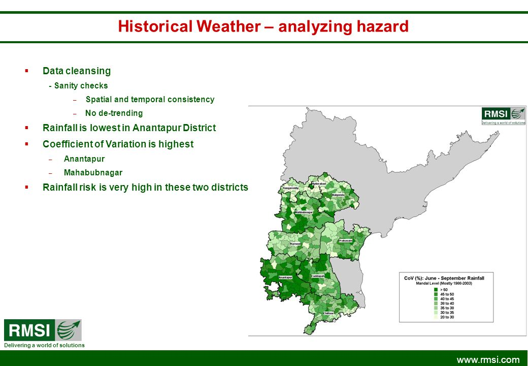 www.rmsi.com Delivering a world of solutions Historical Weather – analyzing hazard Data cleansing - Sanity checks – Spatial and temporal consistency –