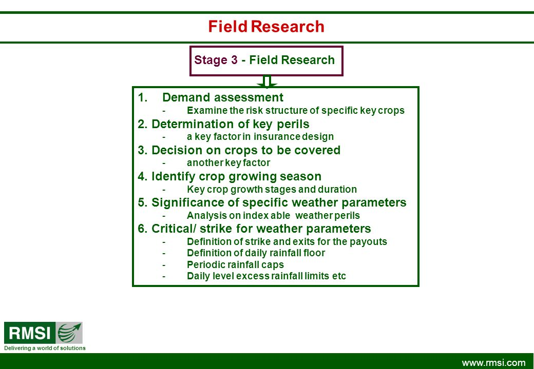 www.rmsi.com Delivering a world of solutions Field Research Stage 3 - Field Research 1.Demand assessment -Examine the risk structure of specific key c
