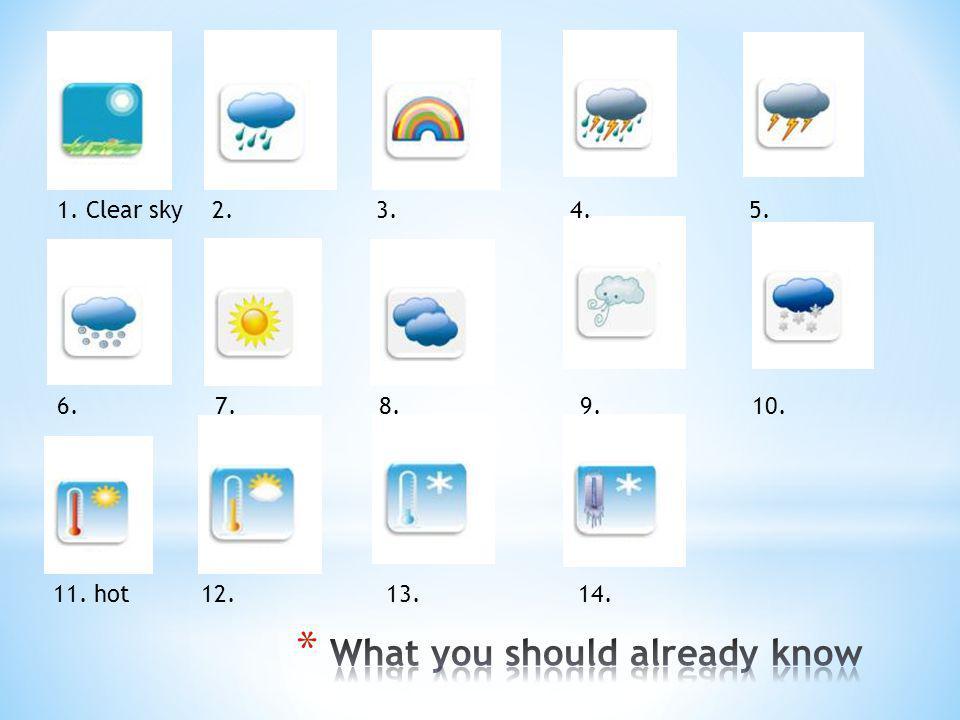 1. Clear sky 2. 3. 4. 5. 6. 7. 8. 9. 10. 11. hot 12. 13. 14.