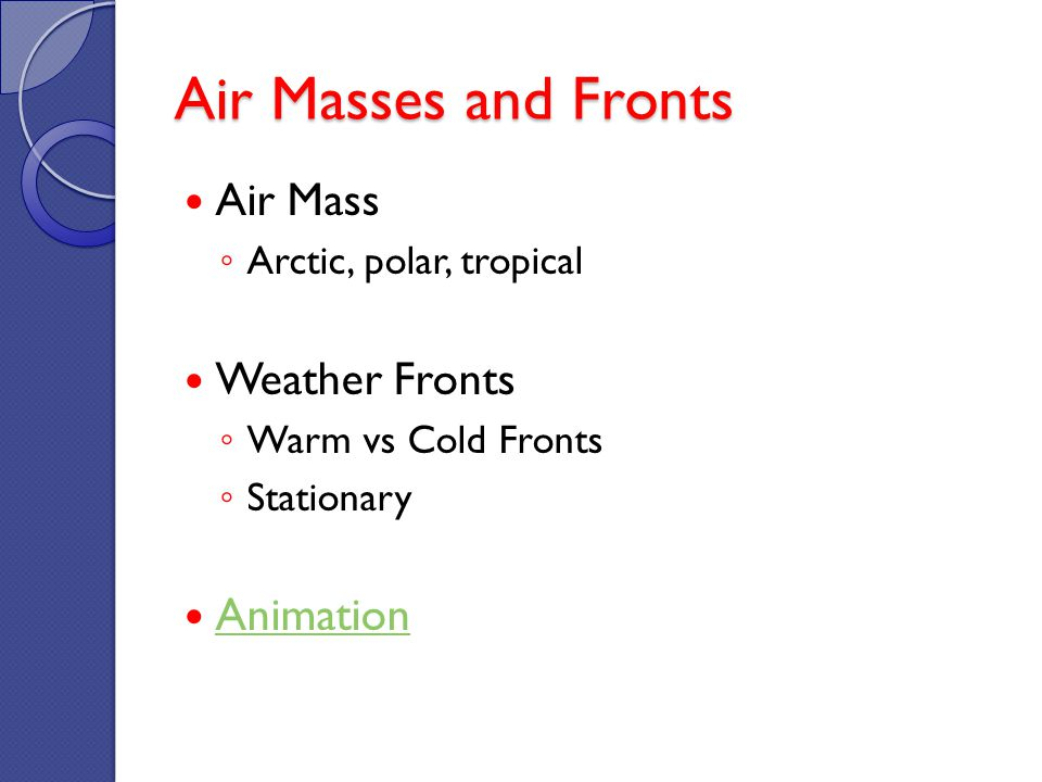 Air Masses and Fronts Air Mass Arctic, polar, tropical Weather Fronts Warm vs Cold Fronts Stationary Animation