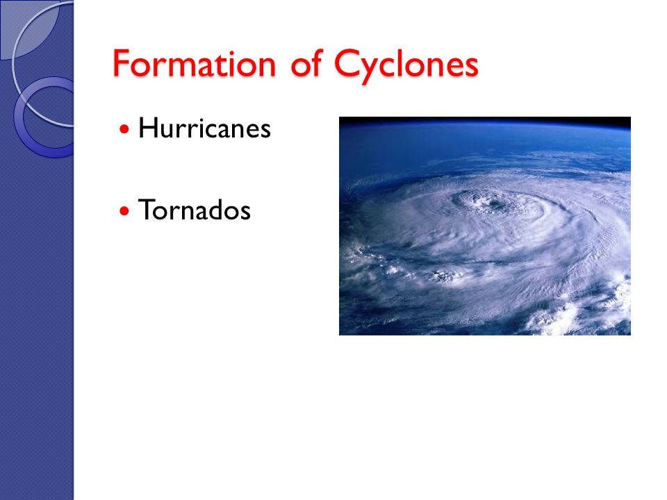 Formation of Cyclones Hurricanes Tornados