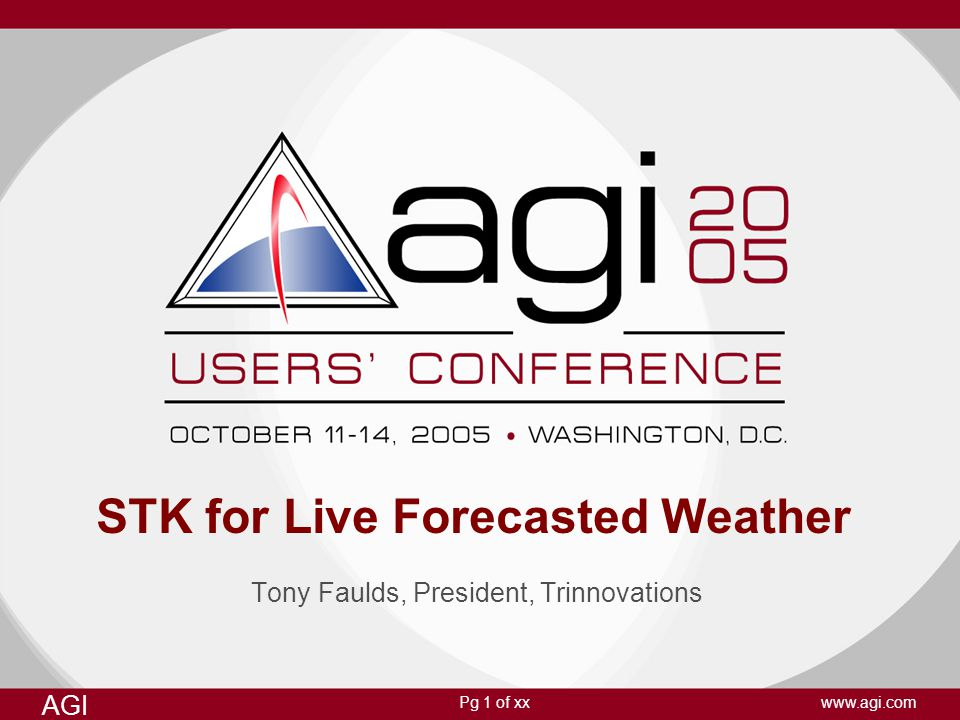 Pg 1 of xx AGI www.agi.com STK for Live Forecasted Weather Tony Faulds, President, Trinnovations