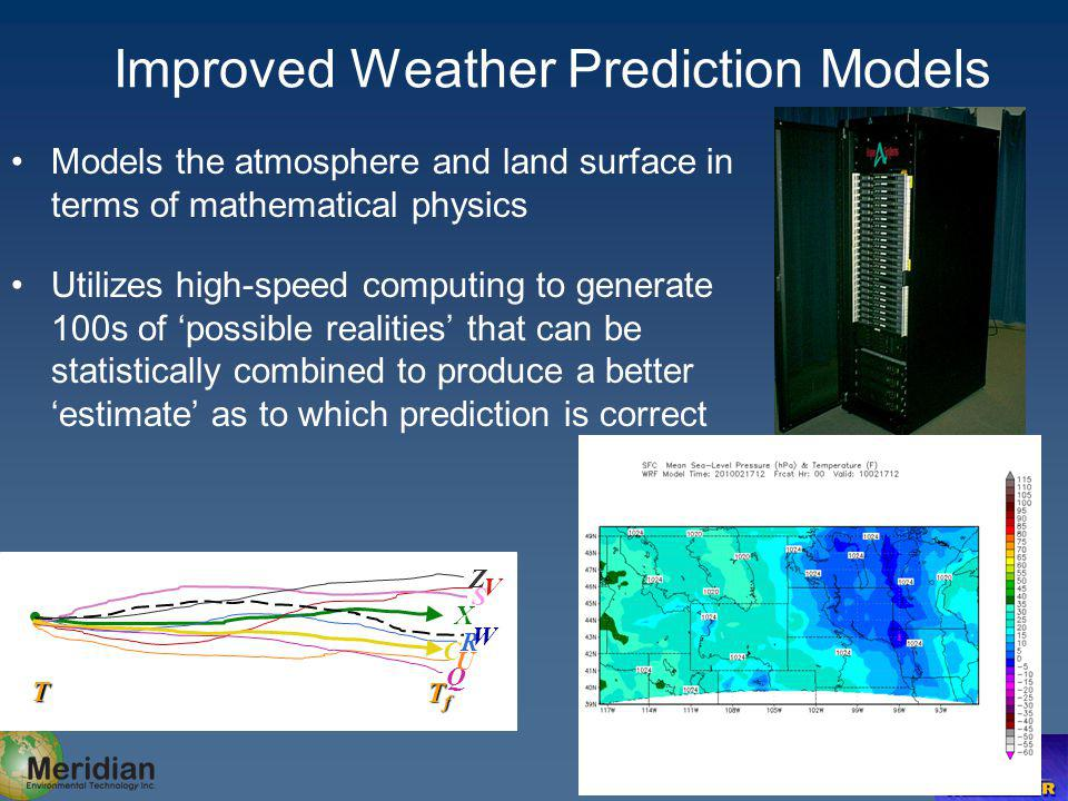 Improved Weather Prediction Models C R Q Z X A T TfTfTfTf U V S W Models the atmosphere and land surface in terms of mathematical physics Utilizes high-speed computing to generate 100s of possible realities that can be statistically combined to produce a better estimate as to which prediction is correct