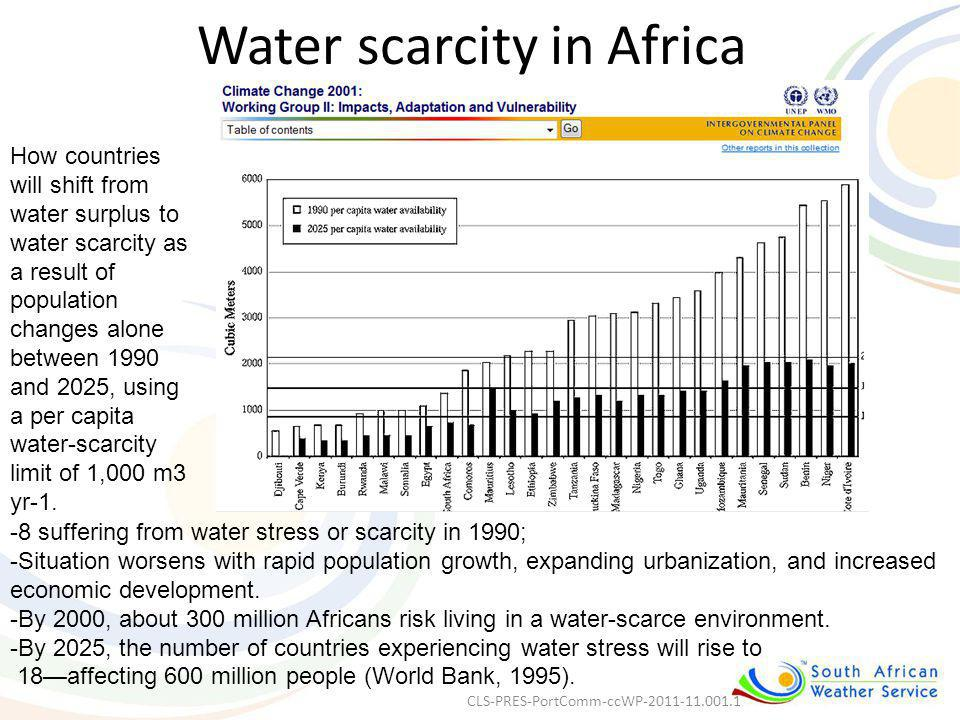 Water scarcity in Africa -8 suffering from water stress or scarcity in 1990; -Situation worsens with rapid population growth, expanding urbanization,