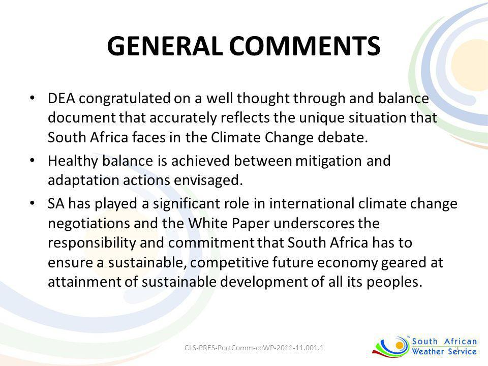 GENERAL COMMENTS DEA congratulated on a well thought through and balance document that accurately reflects the unique situation that South Africa face