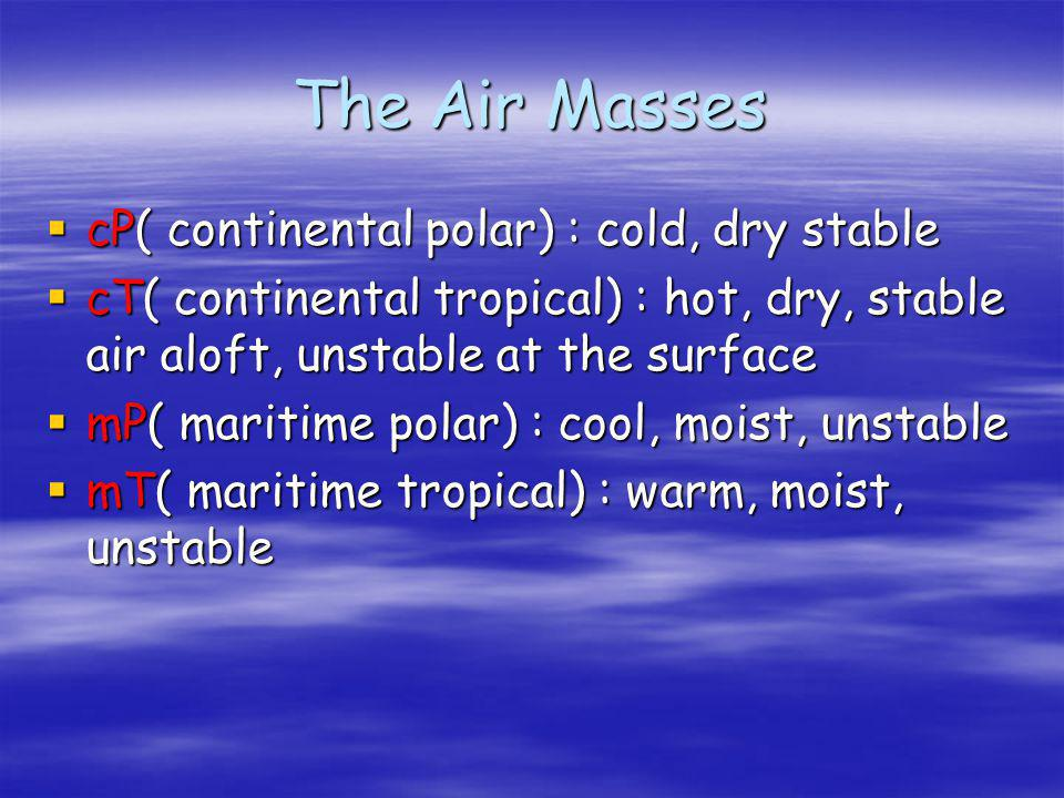 Fronts and Air Masses An air mass is a large body of air whose temperature and moisture are fairly similar at a given altitude An air mass is a large