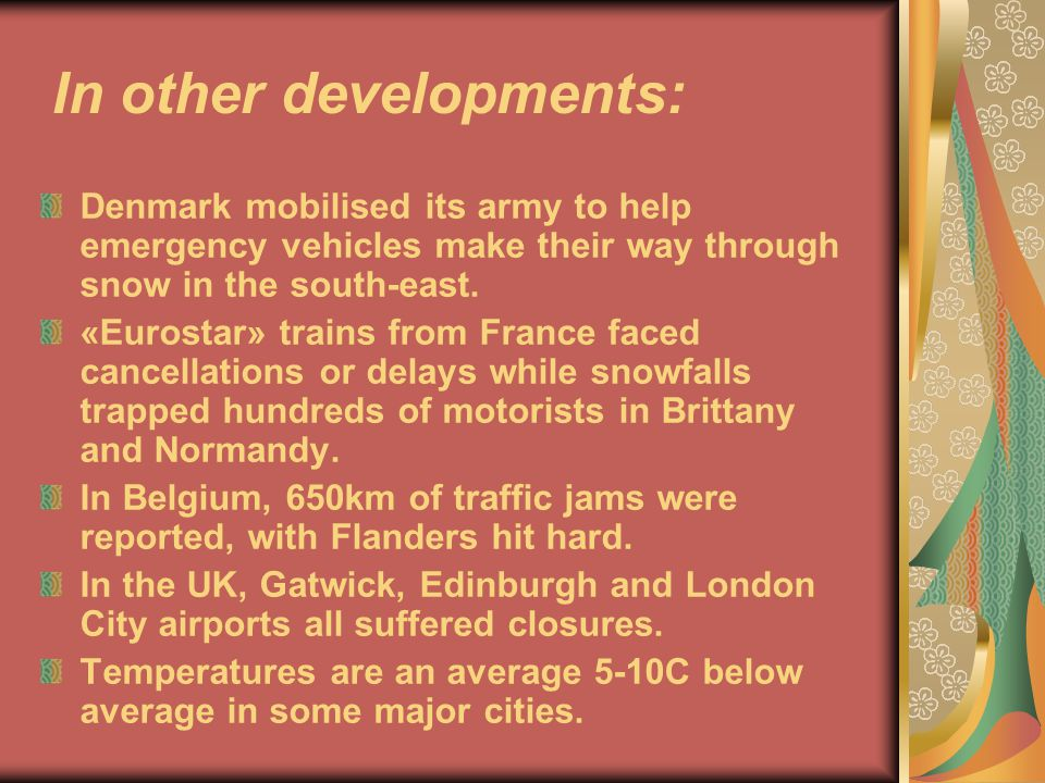 This problem entails a lot of serious consequences: Airports, roads and rail continue to be badly hit by snow.