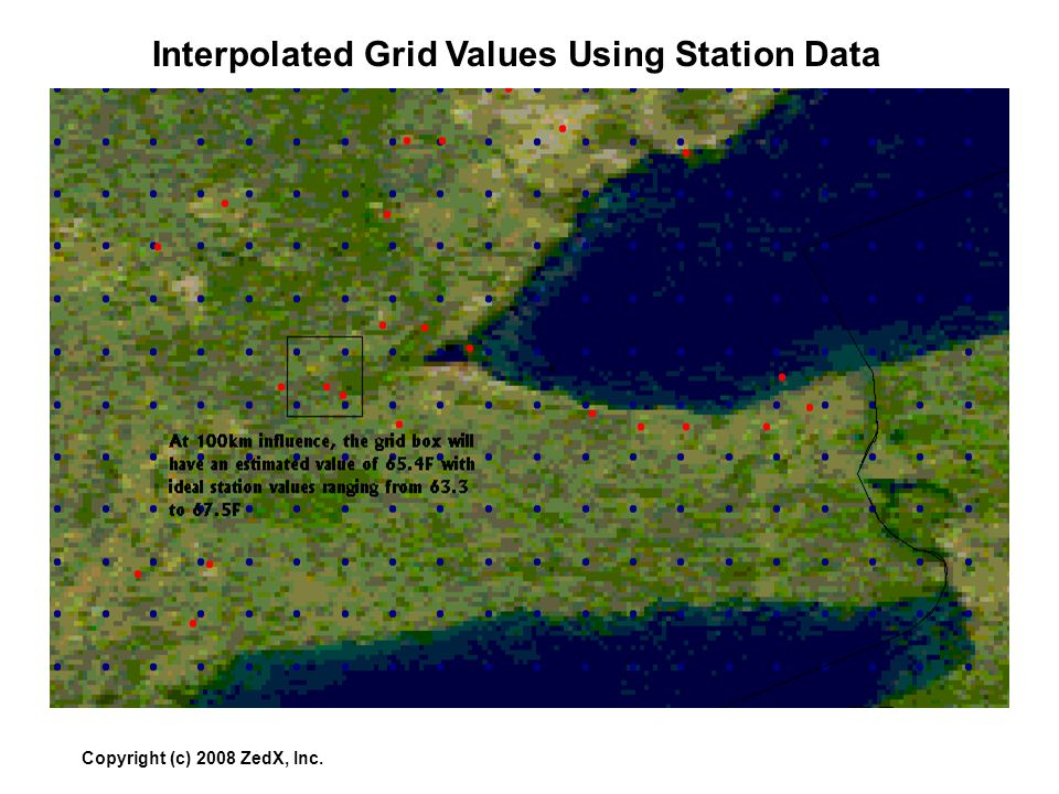 Copyright (c) 2008 ZedX, Inc. Interpolated Grid Values Using Station Data