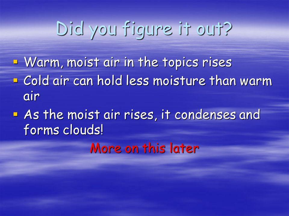 Did you figure it out? Warm, moist air in the topics rises Warm, moist air in the topics rises Cold air can hold less moisture than warm air Cold air
