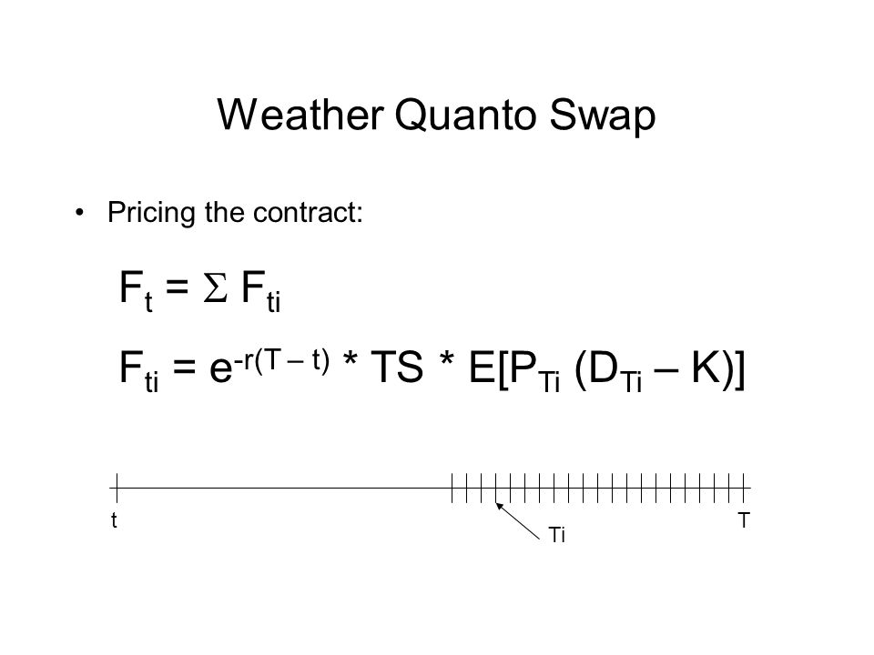 Weather Quanto Swap Pricing the contract: F t = F ti F ti = e -r(T – t) * TS * E[P Ti (D Ti – K)] t Ti T