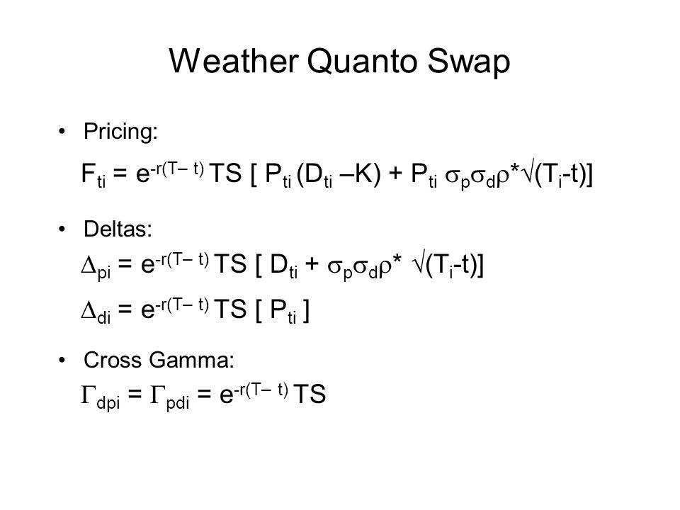Weather Quanto Swap Pricing: Deltas: Cross Gamma: F ti = e -r(T– t) TS [ P ti (D ti –K) + P ti p d * (T i -t)] pi = e -r(T– t) TS [ D ti + p d * (T i
