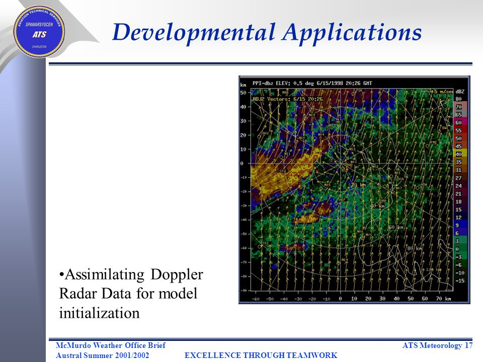 ATS Meteorology 17McMurdo Weather Office Brief Austral Summer 2001/2002EXCELLENCE THROUGH TEAMWORK Assimilating Doppler Radar Data for model initialization Developmental Applications