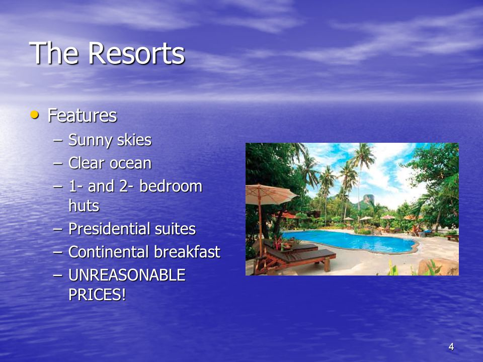 4 The Resorts Features Features –Sunny skies –Clear ocean –1- and 2- bedroom huts –Presidential suites –Continental breakfast –UNREASONABLE PRICES!