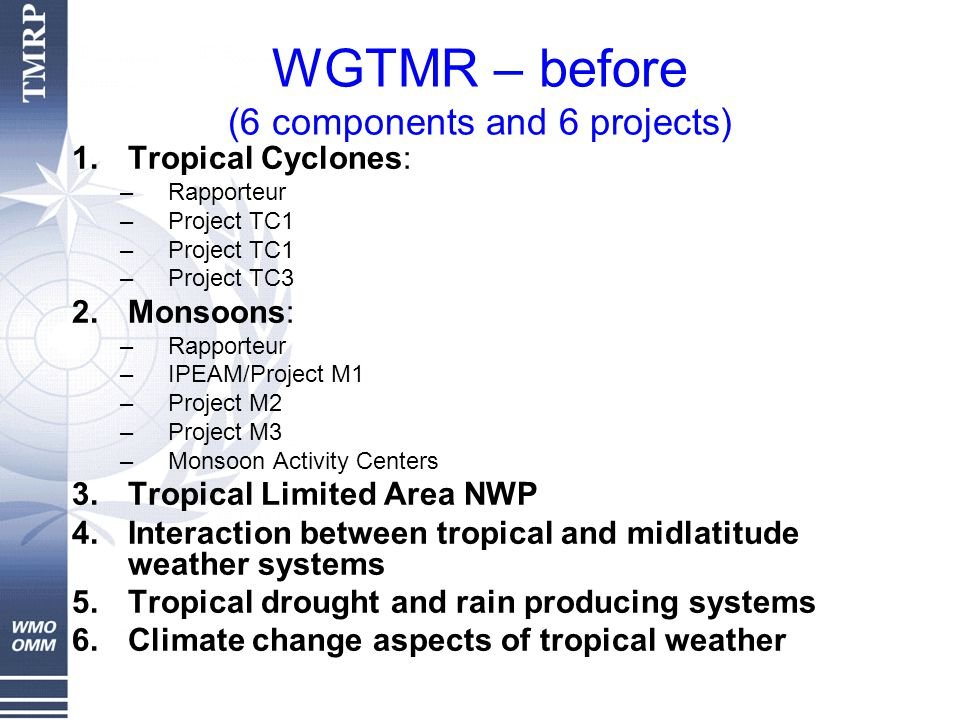 WGTMR – before (6 components and 6 projects) 1.Tropical Cyclones: –Rapporteur –Project TC1 –Project TC3 2.Monsoons: –Rapporteur –IPEAM/Project M1 –Project M2 –Project M3 –Monsoon Activity Centers 3.Tropical Limited Area NWP 4.Interaction between tropical and midlatitude weather systems 5.Tropical drought and rain producing systems 6.Climate change aspects of tropical weather