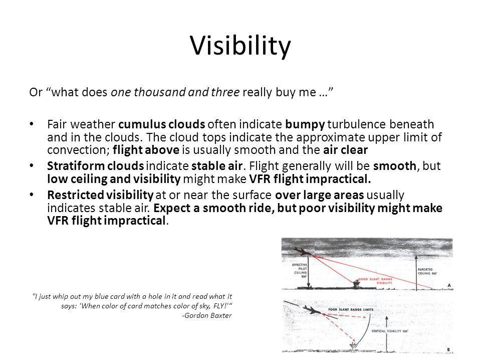 Visibility Or what does one thousand and three really buy me … Fair weather cumulus clouds often indicate bumpy turbulence beneath and in the clouds.