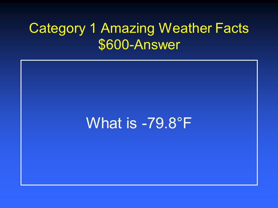 Category 1 Amazing Weather Facts $400-Answer What is 5.1 million billion tons