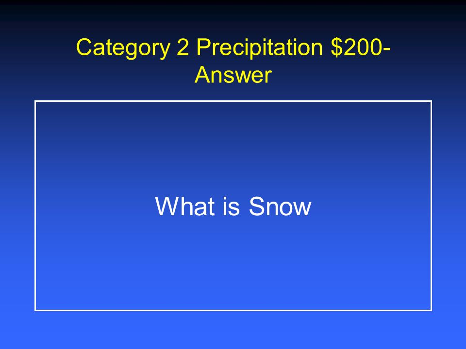 Category 2 Precipitation $1000 There are no two of these alike