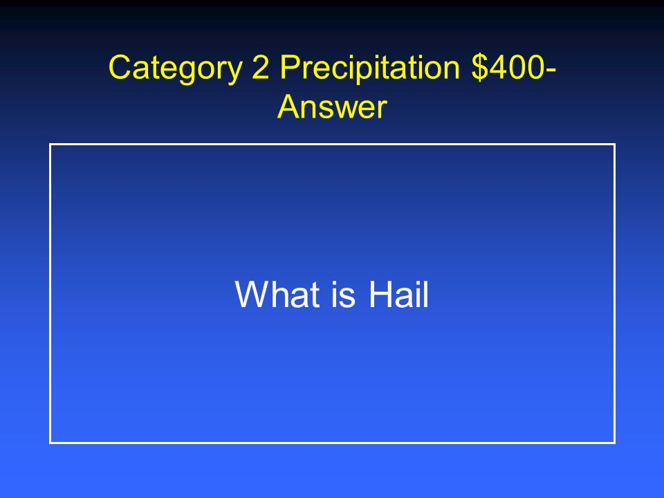 Category 2 Precipitation $200- Answer What is Snow