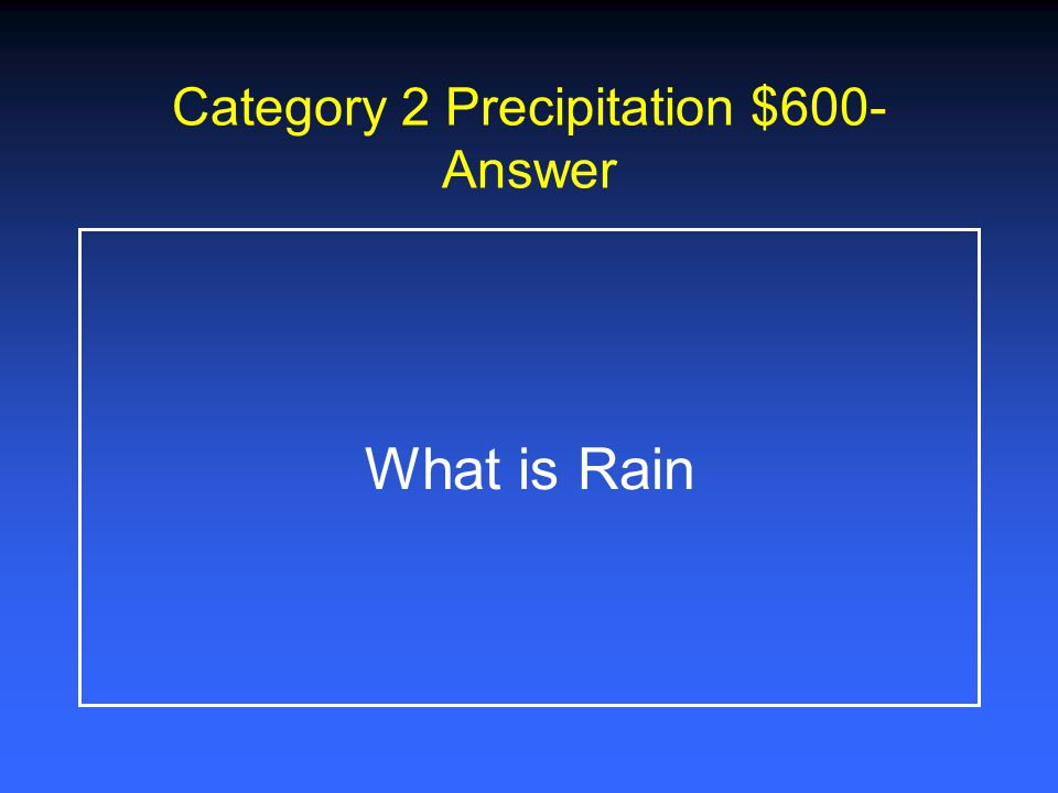 Category 2 Precipitation $400- Answer What is Hail