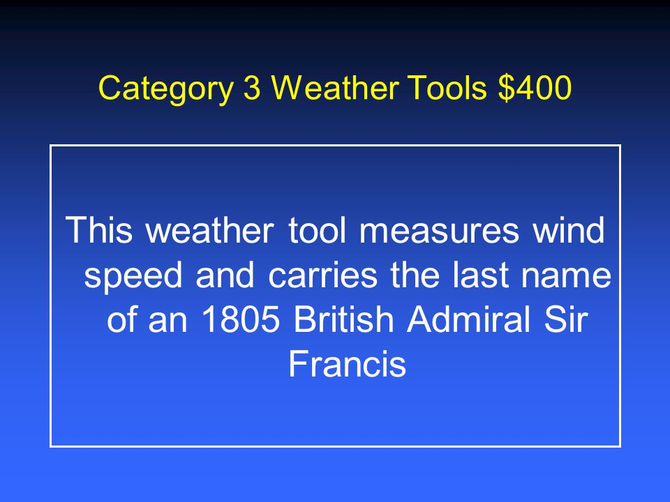 Category 3 Weather Tools $200 The weather tool measures air pressure