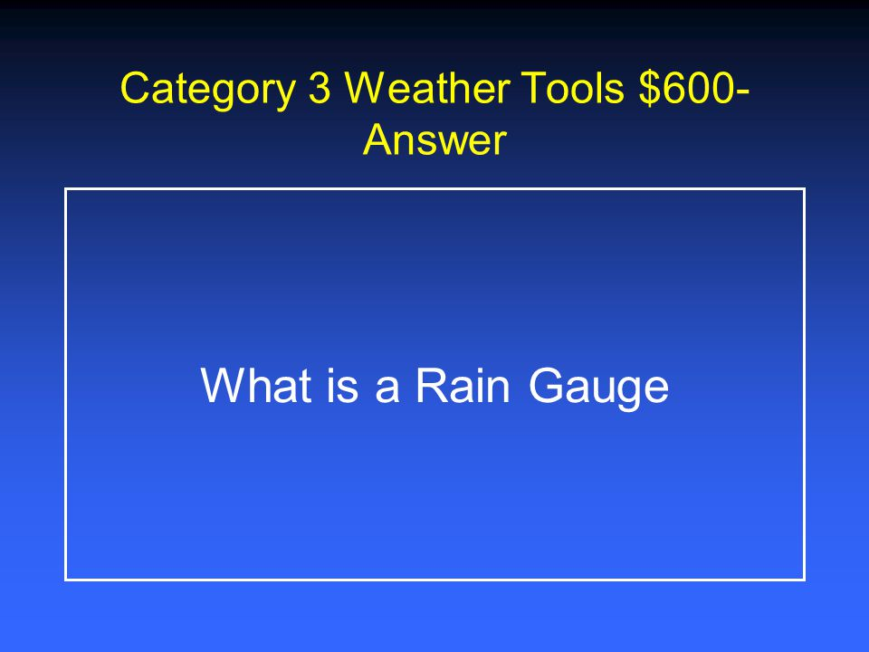 Category 3 Weather Tools $400- Answer What is a Beaufort Scale