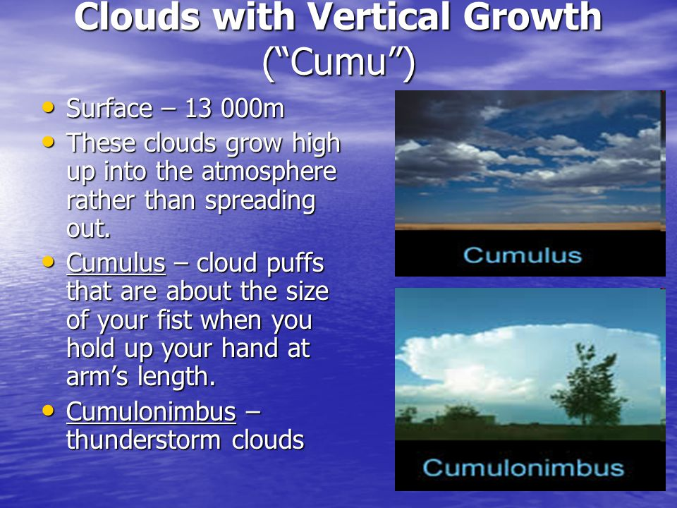 Clouds with Vertical Growth (Cumu) Surface – 13 000m Surface – 13 000m These clouds grow high up into the atmosphere rather than spreading out.