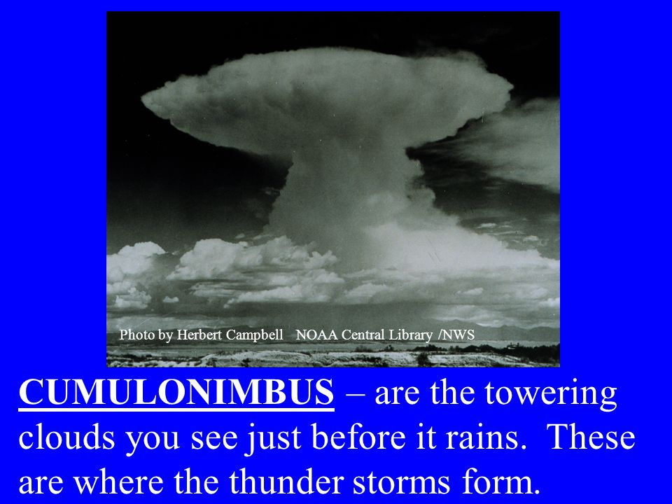CUMULONIMBUS – are the towering clouds you see just before it rains.