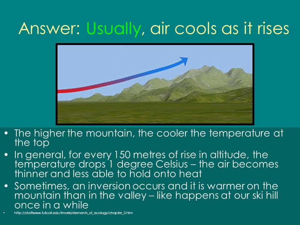 Answer: Usually, air cools as it rises The higher the mountain, the cooler the temperature at the top In general, for every 150 metres of rise in alti