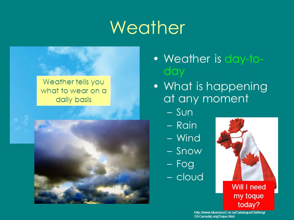 Weather Weather is day-to- day What is happening at any moment –Sun –Rain –Wind –Snow –Fog –cloud Weather tells you what to wear on a daily basis Will