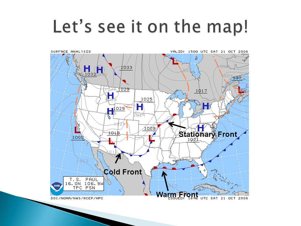 The air from the warm front and cold front meet, but do not move These fronts have the same weather as warm fronts SYMBOL – warm and cold fronts are m