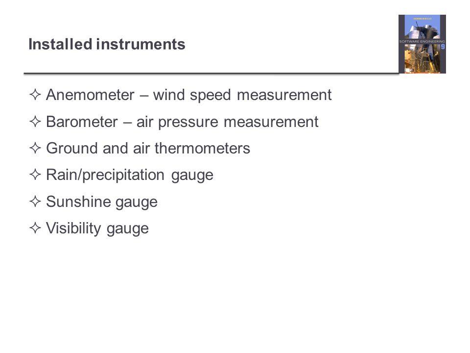 Installed instruments Anemometer – wind speed measurement Barometer – air pressure measurement Ground and air thermometers Rain/precipitation gauge Su