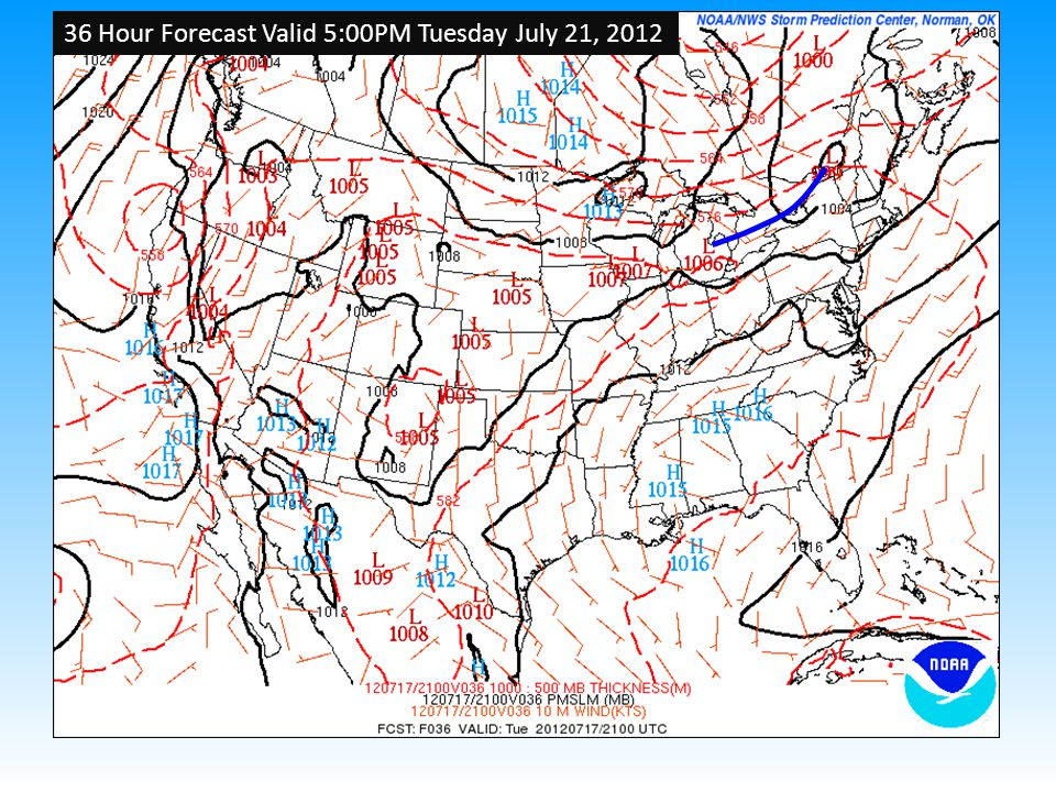 36 Hour Forecast Valid 5:00PM Tuesday July 21, 2012