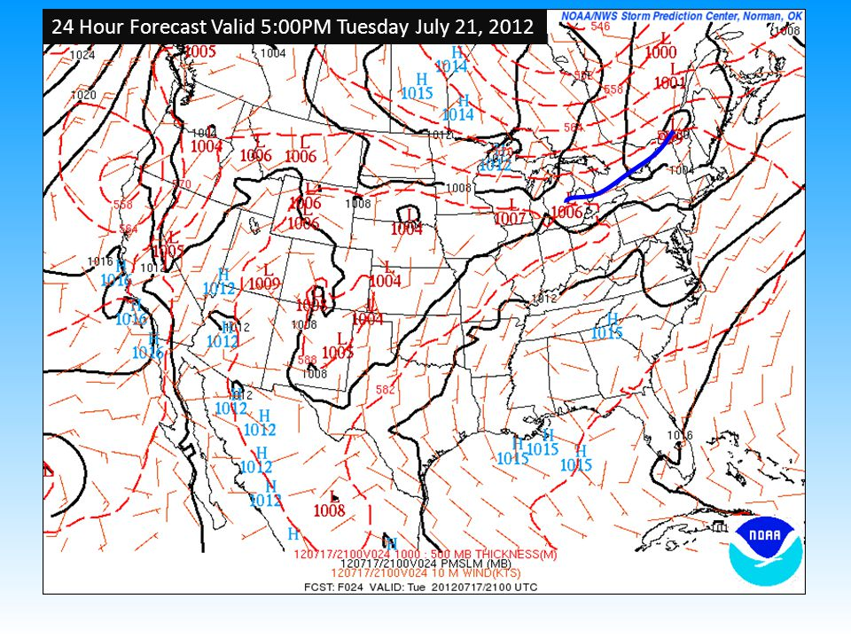 24 Hour Forecast Valid 5:00PM Tuesday July 21, 2012
