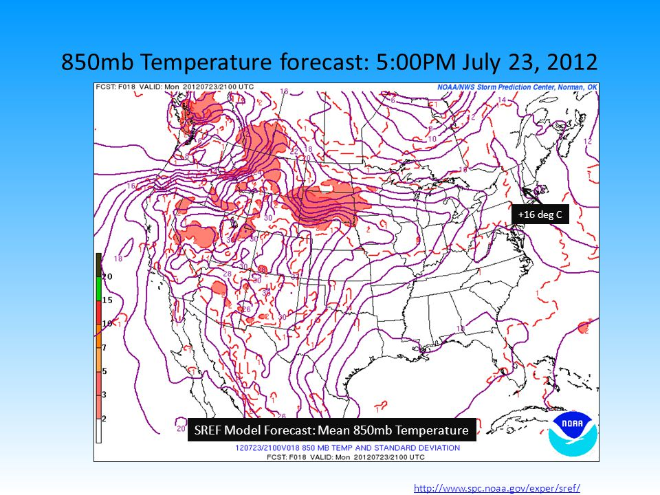 http://www.spc.noaa.gov/exper/sref/ 850mb Temperature forecast: 5:00PM July 23, 2012 +16 deg C SREF Model Forecast: Mean 850mb Temperature http://www.spc.noaa.gov/exper/sref/